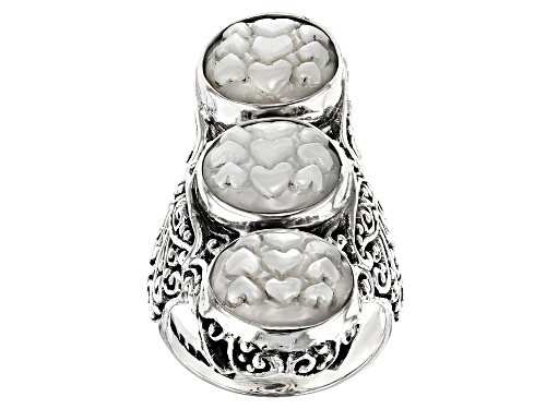 Photo of Artisan Collection Of Bali™ 12mm Round Carved White Mother Of Pearl Hearts Sterling Silver Ring - Size 6