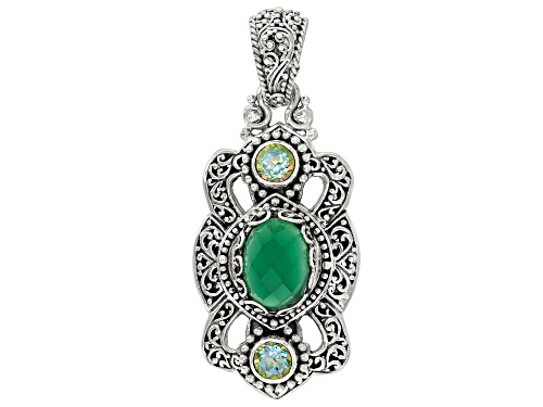 Photo of Artisan Collection Of Bali™ Green Onyx And 1.64ctw Butterfly Green™ Topaz Silver Pendant