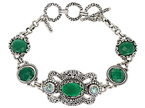 Photo of Artisan Collection Of Bali™ Green Onyx And 1.64ctw Butterfly Green™ Topaz Silver Bracelet - Size 7.5
