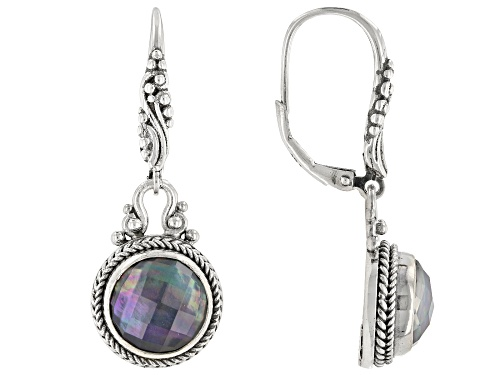 Photo of Artisan Collection Of Bali™ 10mm Round Blue Onyx Triplet Sterling Silver Dangle Earrings