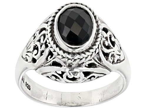 Photo of Artisan Collection Of Bali™ 0.64ct Oval , Briolette Cut Black Spinel Silver Solitaire Ring - Size 12