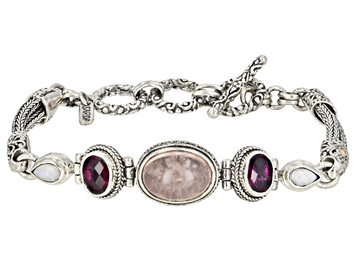 Photo of Artisan Of Bali™ 2.98ctw Morganite, Australian Opal, Rhodolite Silver And 18k Gold Accent Bracelet - Size 7
