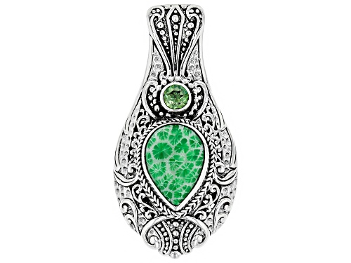 Photo of Artisan Of Bali™ Kelly Green Indonesian Coral, Coconut Lime™ Mystic Topaz® Silver Pendant