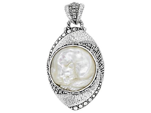 Photo of Artisan Collection Of Bali™ 25mm Round, Carved White Mother Of Pearl Cat Silver Pendant
