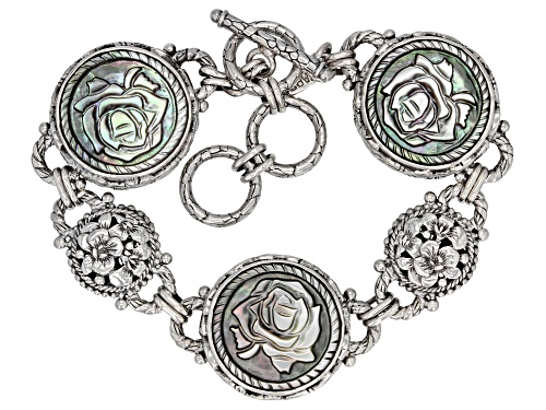 Photo of Artisan Collection Of Bali™ 20mm Round, Carved Black Mother Of Pearl Rose Silver Bracelet - Size 7