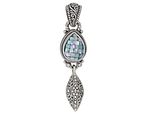 Photo of Artisan Collection Of Bali™ 16x12mm Pear Shape Blue Green Mosaic Mother Of Pearl Silver Pendant