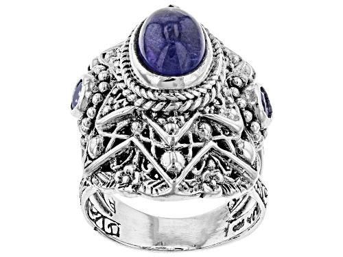 Photo of Artisan Collection Of Bali™ Oval Cabochon Tanzanite & 0.12ctw Round Tanzanite Silver Ring - Size 10