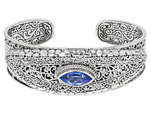 Photo of Artisan Collection Of Bali™ 3.06ct 14x7mm Marquise Royal Bali Blue™ Topaz Silver Cuff Bracelet