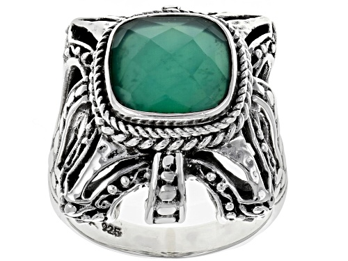 Photo of Artisan Collection Of Bali™ 10mm Square Cushion Green Onyx Doublet Silver Solitaire Ring - Size 12