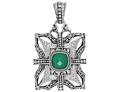 Photo of Artisan Collection Of Bali™ 10mm Square Cushion Green Onyx Doublet Silver Pendant
