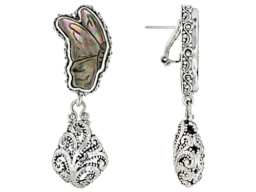 Photo of Artisan Collection Of Bali™  24x15mm Carved Black Mother Of Pearl Butterfly Silver Drop Earrings