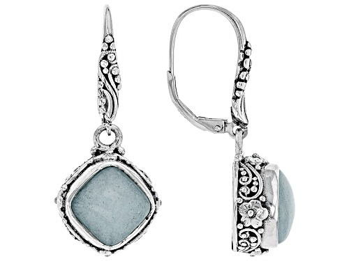 Artisan Collection Of Bali™ 10mm Square Cushion Aqua Blue Quartzite Silver Dangle Earrings