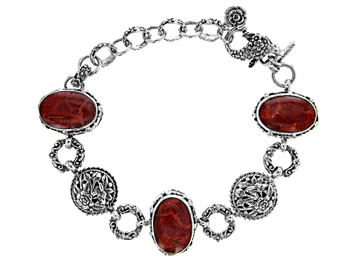 Photo of Artisan Collection Of Bali™ 16x11mm Oval Red Indonesian Sponge Coral Silver Floral Bracelet - Size 6.5