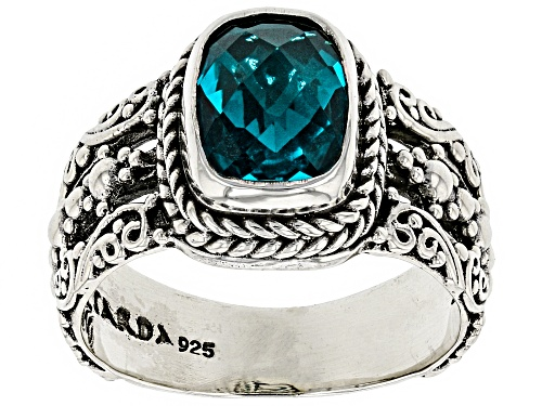 Photo of Artisan Collection Of Bali™ 9x7mm Rectangular Cushion Paraiba Color Quartz Triplet Silver Ring - Size 12