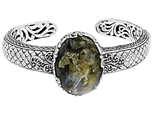 Photo of Artisan Collection Of Bali™ 30x22mm Oval Carved Labradorite Doublet Silver Horse Cuff Bracelet - Size 6.75