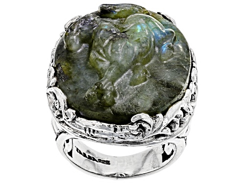 Photo of Artisan Collection Of Bali™ 30x22mm Oval Carved Labradorite Doublet Silver Horse Solitaire Ring - Size 7