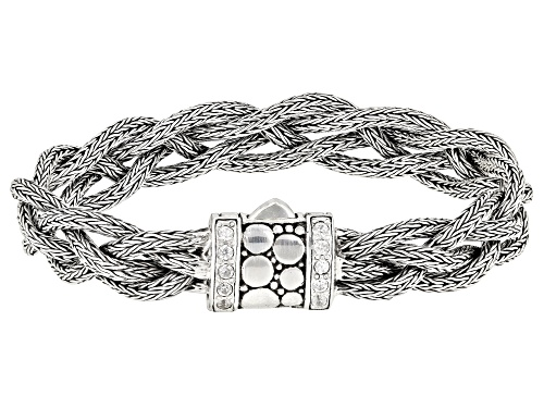 Photo of Artisan Collection Of Bali™ 0.50ctw 2mm Round White Zircon Silver Woven Chain Bracelet - Size 7.25