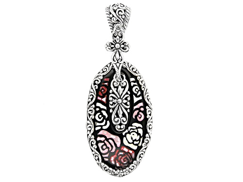 Photo of Artisan Collection Of Bali™ 40x20mm Oval Mosaic Mother Of Pearl Roses Silver Pendant