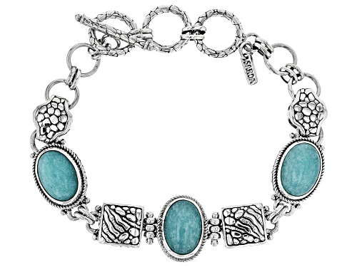 Photo of Artisan Collection Of Bali™ 14x10mm Oval Amazonite Cabochon Sterling Silver Bracelet - Size 7