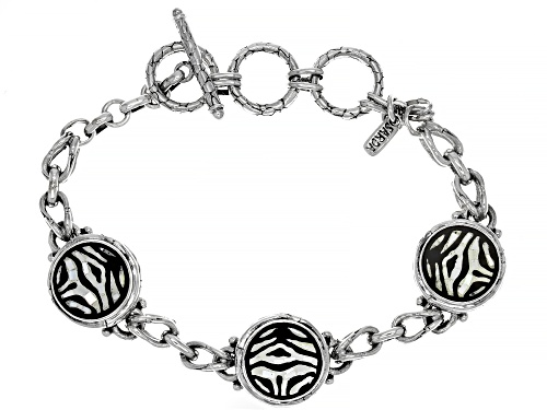 Photo of Artisan Collection Of Bali™ Mosaic Mother Of Pearl & Black Onyx Zebra Print Inlay Silver Bracelet - Size 7
