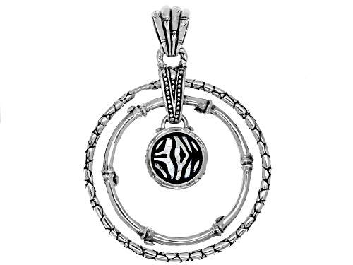 Photo of Artisan Collection Of Bali™ Mosaic Mother Of Pearl & Black Onyx Zebra Print Inlay Silver Pendant