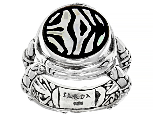 Photo of Artisan Collection Of Bali™ Mosaic Mother Of Pearl & Black Onyx Zebra Print Inlay Silver Ring - Size 8