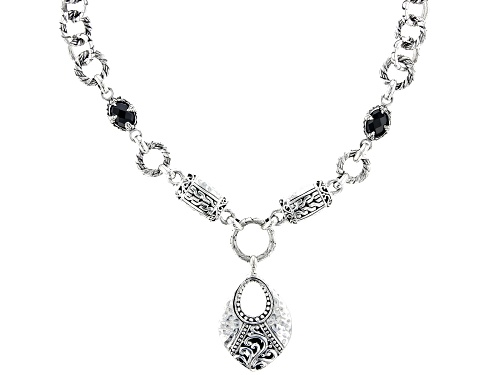 Photo of Artisan Collection Of Bali™ 2.22ctw Oval, Briolette Black Spinel Silver Station Necklace - Size 18