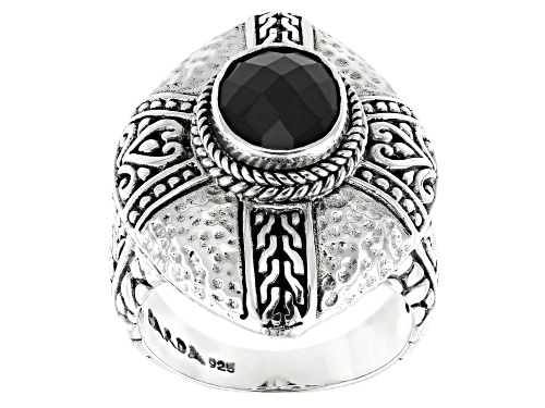 Photo of Artisan Collection Of Bali™ 2.80ct Oval, Checkerboard Cut Black Spinel Silver Solitaire Ring - Size 7