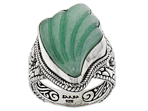 Photo of Artisan Collection Of Bali™ 24x16mm Custom Shape, Carved Green Quartzite Fan Silver Solitaire Ring - Size 7