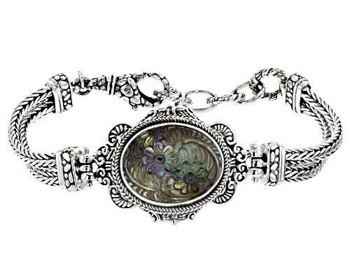 Photo of Artisan Collection Of Bali™ 22x17mm Oval Carved Abalone Doublet Flower Sterling Silver Bracelet - Size 7
