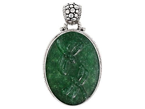 Photo of Artisan Collection Of Bali™ 38x28mm Oval, Carved Kiwi Quartz Dragonfly Silver Pendant