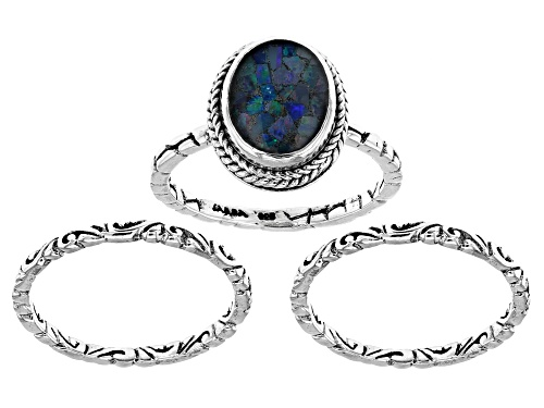Photo of Artisan Collection Of Bali™ 10x8mm Oval Crushed Opal Doublet Silver Ring Set Of Three - Size 8