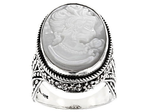 Photo of Artisan Collection Of Bali™ 20x15mm Oval, Carved White Mother Of Pearl Cameo Silver Ring - Size 8