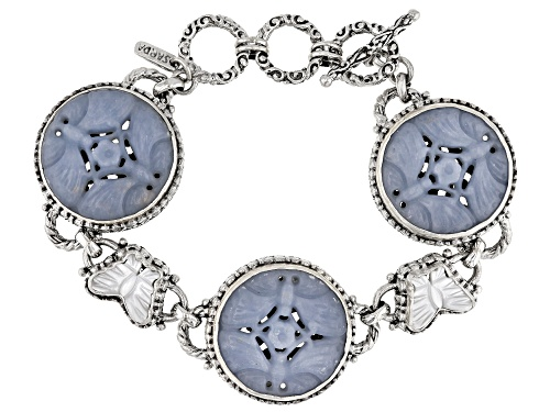 Photo of Artisan Collection Of Bali™ Carved Angelite And White Mother Of Pearl Butterfly Silver Bracelet - Size 7