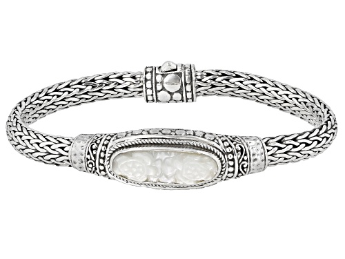 Photo of Artisan Collection Of Bali™ 29x9mm Oval, Carved White Mother Of Pearl Turtle Silver Bracelet - Size 7
