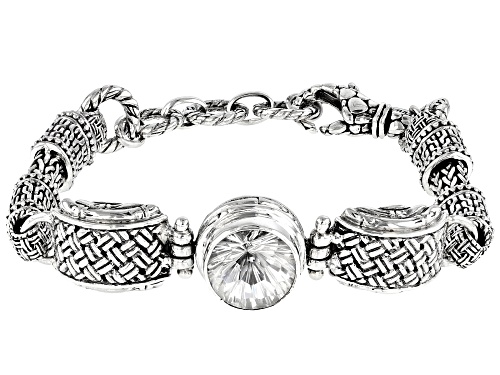 Photo of Artisan Collection Of Bali™ 5.27ct 12mm Round White Quartz Silver Basket Weave Design Bracelet - Size 7
