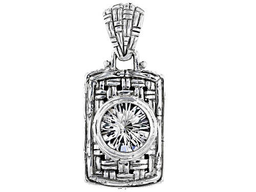 Photo of Artisan Collection Of Bali™ 5.27ct 12mm Round White Quartz Silver Basket Weave Design Pendant