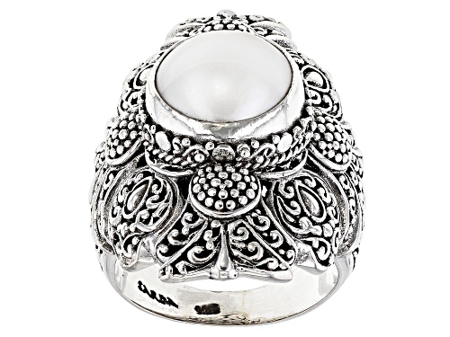 Photo of Artisan Collection Of Bali™ 10mm Round White Cultured Mabe Pearl Sterling Silver Solitaire Ring - Size 7