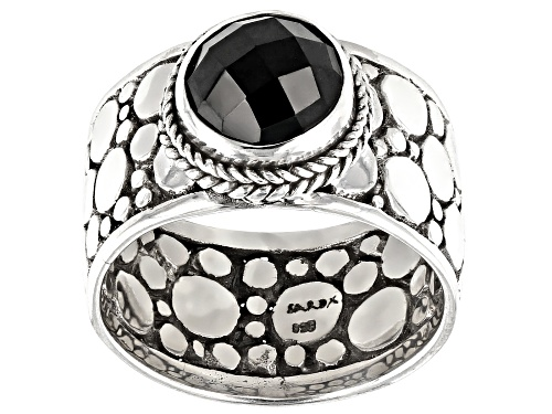 Photo of Artisan Collection Of Bali™  1.70ct 8mm Round, Checkerboard Cut Black Spinel Silver Solitaire Ring - Size 8