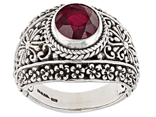 Photo of Artisan Collection Of Bali™ 2.13ct 8mm Round Mahaleo® Ruby Sterling Silver Solitaire Ring - Size 8