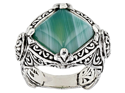 Photo of Artisan Collection Of Bali™ 12mm Square Cushion Green Banded Agate Silver Solitaire Ring - Size 7