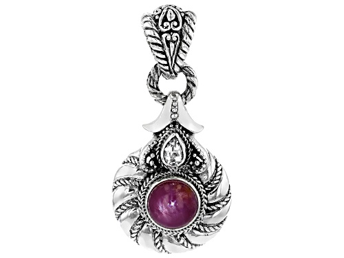 Photo of Artisan Collection Of Bali™ 4.55ct Oval Star Ruby And 0.47ct Pear Shape White Topaz Silver Pendant