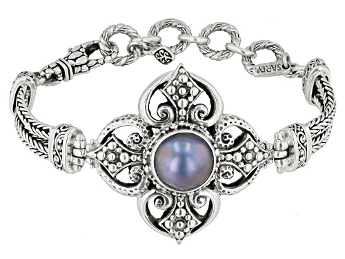 Photo of Artisan Collection Of Bali™ 12mm Round Blue Mabe Pearl Sterling Silver Bracelet - Size 6.5