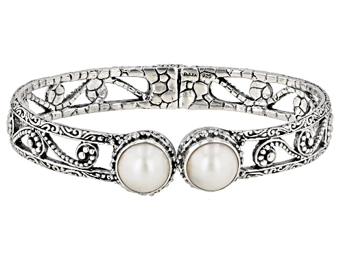 Photo of Artisan Collection Of Bali™ 10mm Round White Mabe Pearl Silver Filigree Bangle Bracelet - Size 6.75