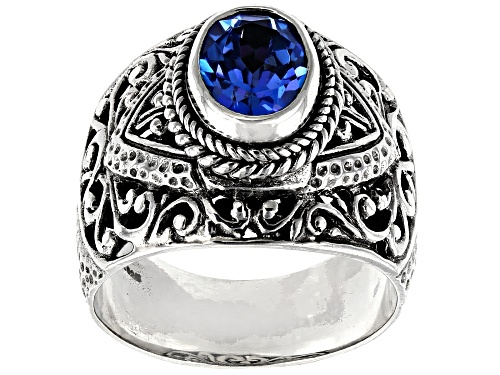 Photo of Artisan Collection Of Bali™ 2.04ct 9x7mm Oval Royal Bali Blue™ Topaz Silver Solitaire Ring - Size 8