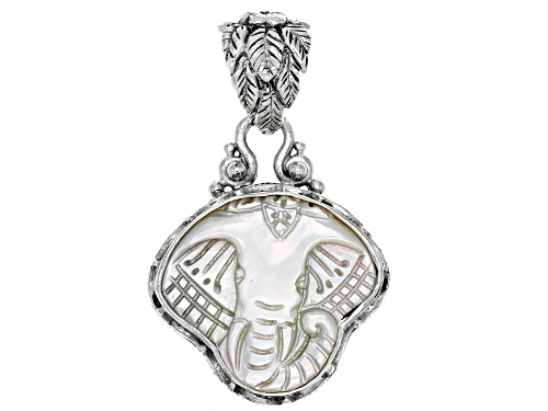 Photo of Artisan Collection Of Bali™ Carved White Mother Of Pearl Elephant Sterling Silver Pendant