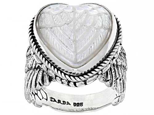 Photo of Artisan Collection Of Bali™ Carved White Mother Of Pearl Heart Sterling Silver Angel Wing Ring - Size 7