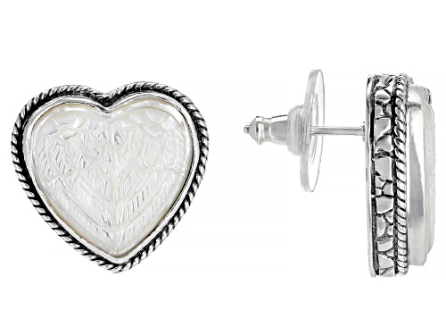 Photo of Artisan Collection Of Bali™ Carved White Mother Of Pearl Heart Silver Angel Wing Stud Earrings