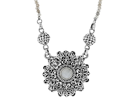 Photo of Artisan Collection Of Bali™ 8mm Round White Moonstone And 3mm Grey Moonstone Bead Silver Necklace - Size 16
