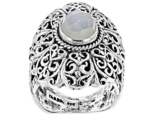 Photo of Artisan Collection Of Bali™ 8mm Round, Checkerboard Cut White Moonstone Silver Solitaire Ring - Size 8